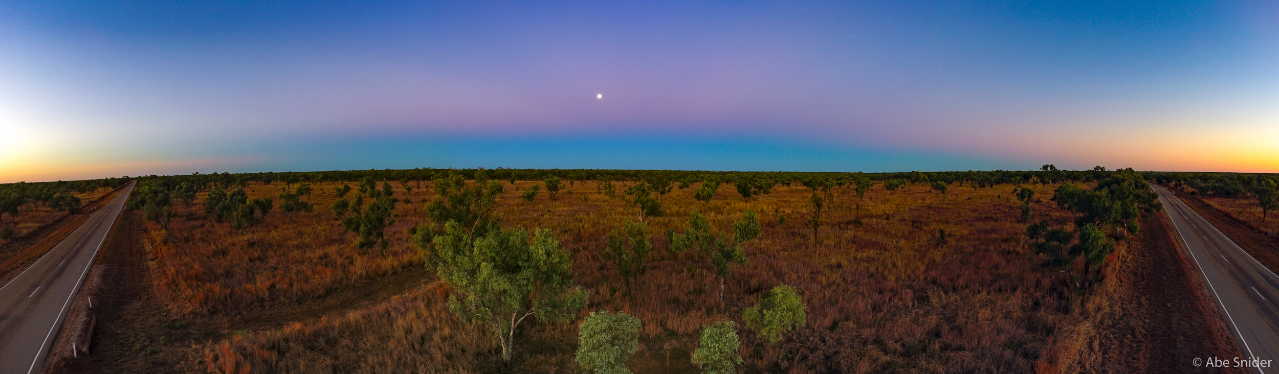 One of two drone panoramas. This is just south of Katherine Gorge and it was so clear and flat you could see the shadow of the earth (and the belt of venus) with the full moon rising. A spectacular view to be sure.