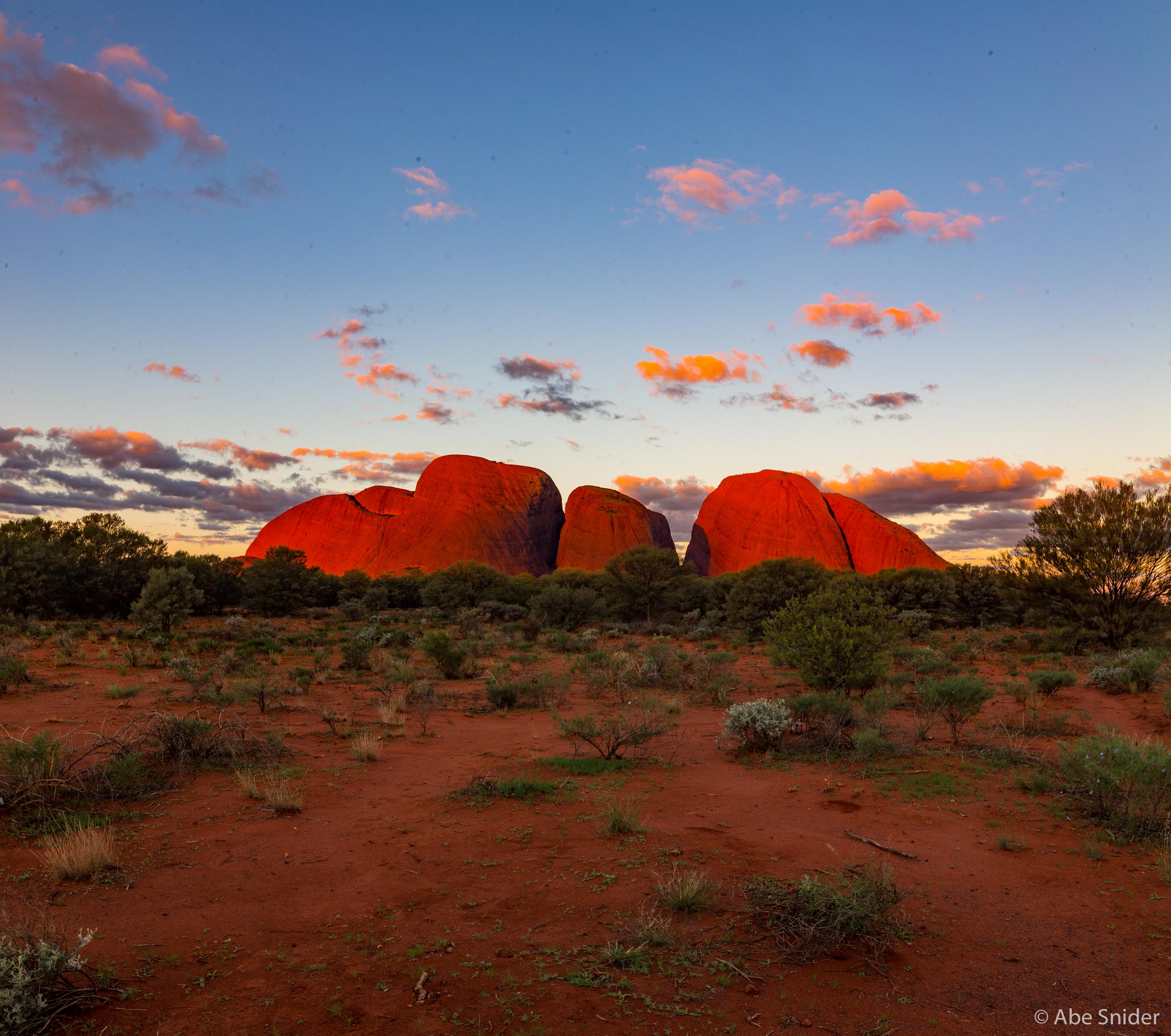 Kata Tjuta at sunset.