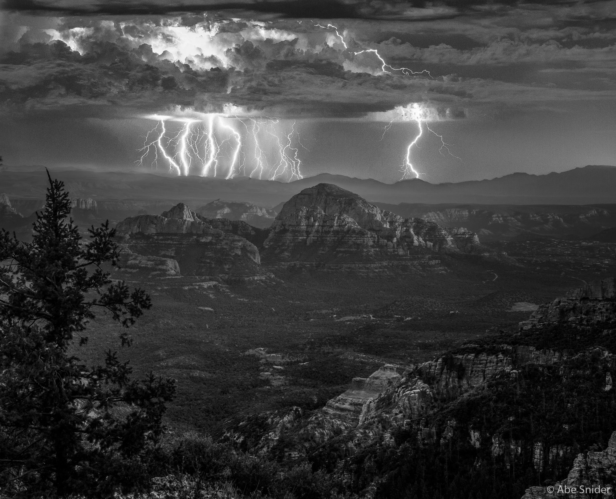 Summer Storm in Black and White
