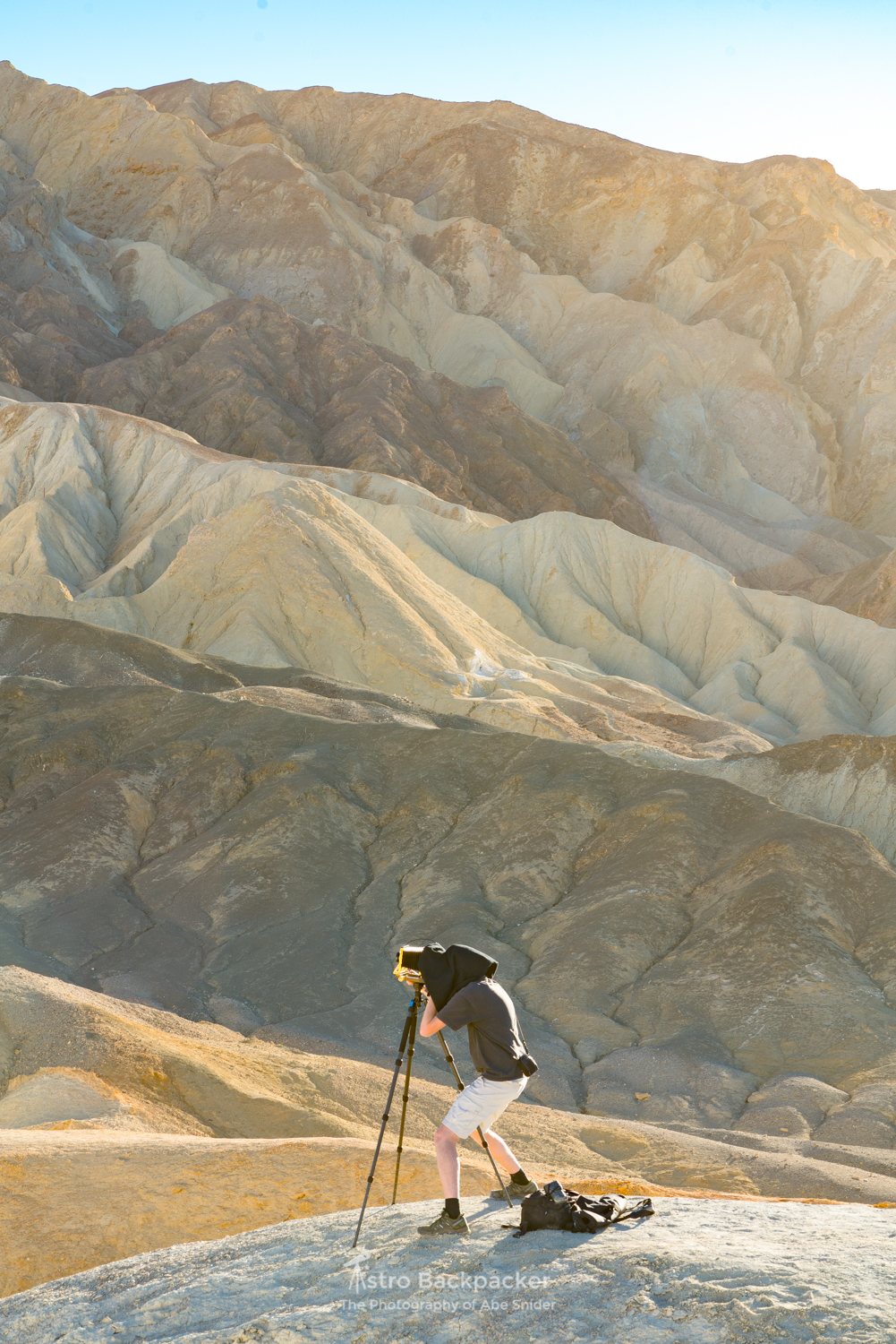 Andy Orr shooting his Large Format Film at Death Valley National Park on Boxing Day.