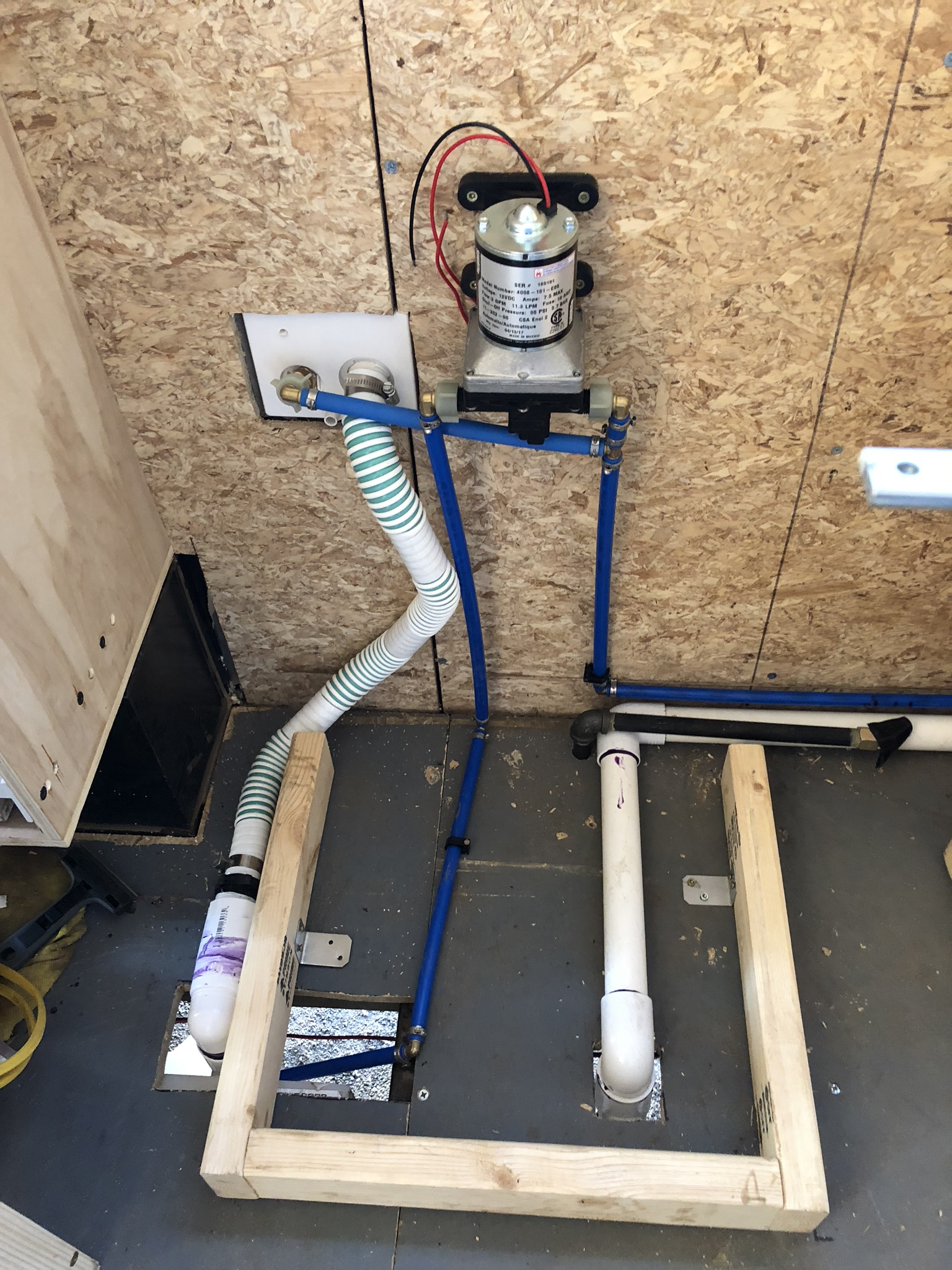 Fully assembled - Water comes in from the inlet, goes straight to tank, then gets pumped out and pushed to the sink and shower and hot water heater. Also can be bypassed by a waterline with pressure in a campground or house.You can also see the gas line coming up from the underside.