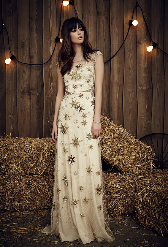 """We just love seeing the stars come out and cannot get enough of Jenny Packham's 2017 Bridal collection! The """"Jolene"""" dress is definitely our favorite, with it's gorgeous constellations of glittering starbursts! It is just glorious! Check out a few more starry, shimmering, sequined gowns below and click  HERE  to see Jenny Packham's 2017 collection in it's entirety!"""