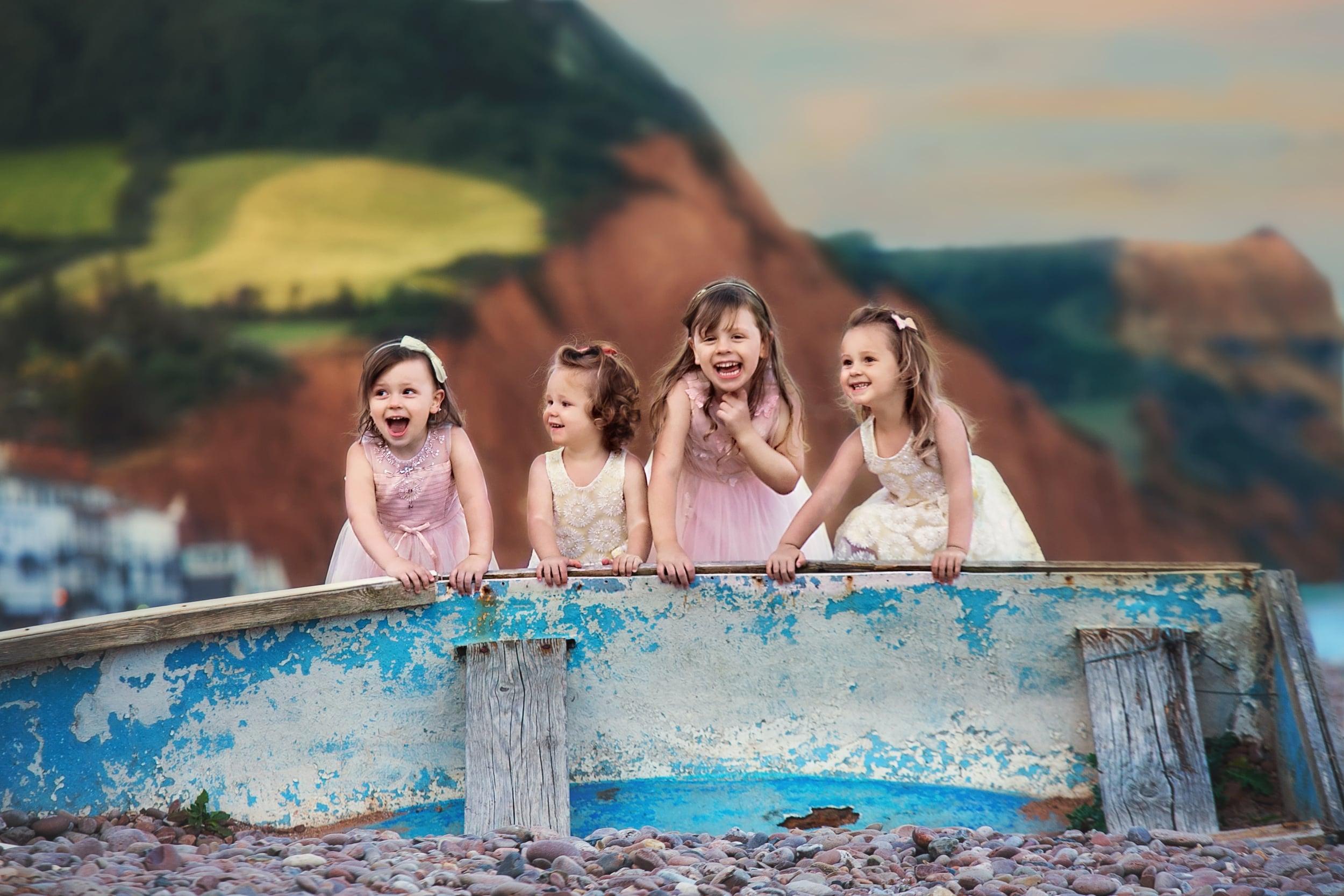 Sidmouth beach in Devon, children