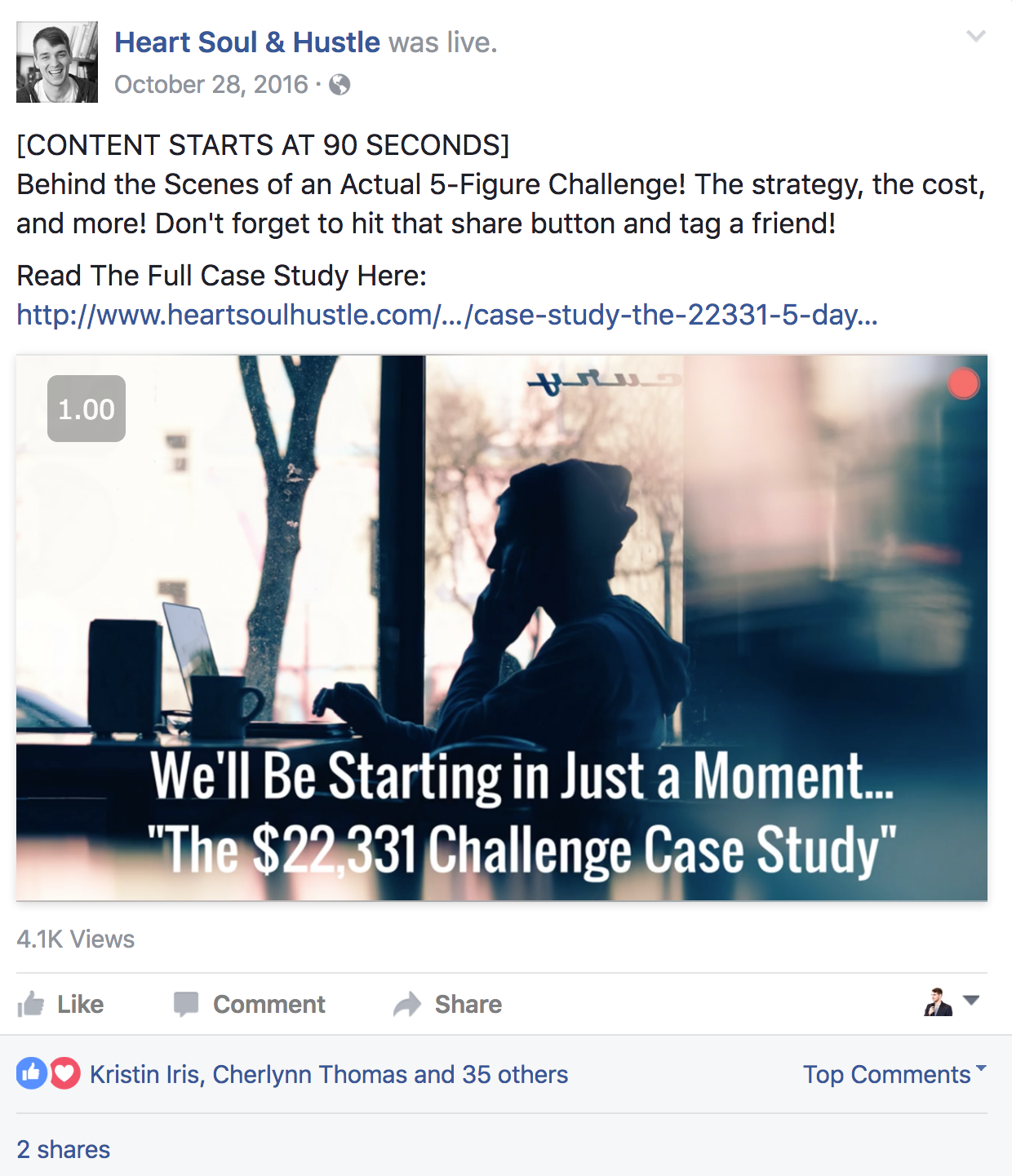Notice how I've used this Facebook Live to drive traffic back to a high quality blog post with the intention of generating more leads!