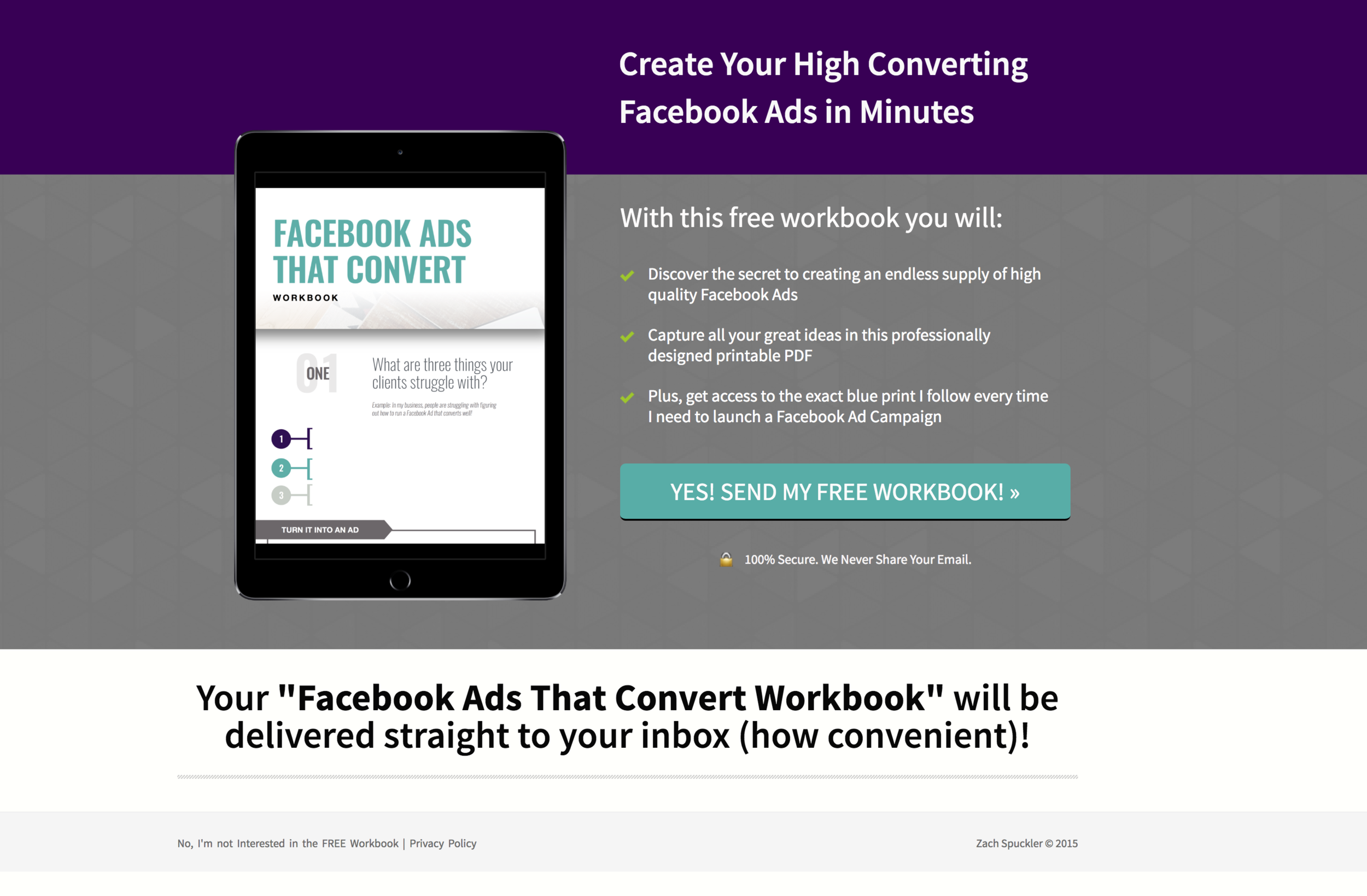 This is a landing page we've used for OVER 18 Months and it's still profitable! We only update branding - simple works!