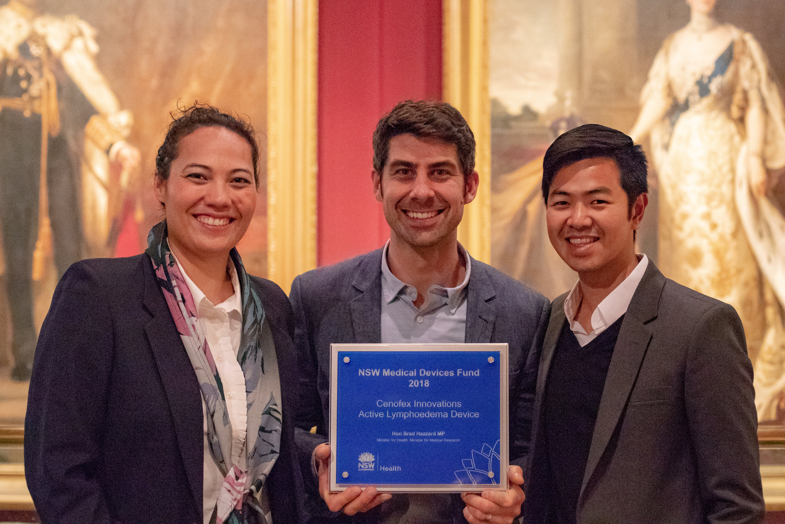 Left to right: Dr. Sheridan Gho, Dr. Michael Weaver and Mr. Tri Luong of Cenofex Innovations with the NSW Medical Devices Fund Award 2018 at NSW Parliament House.