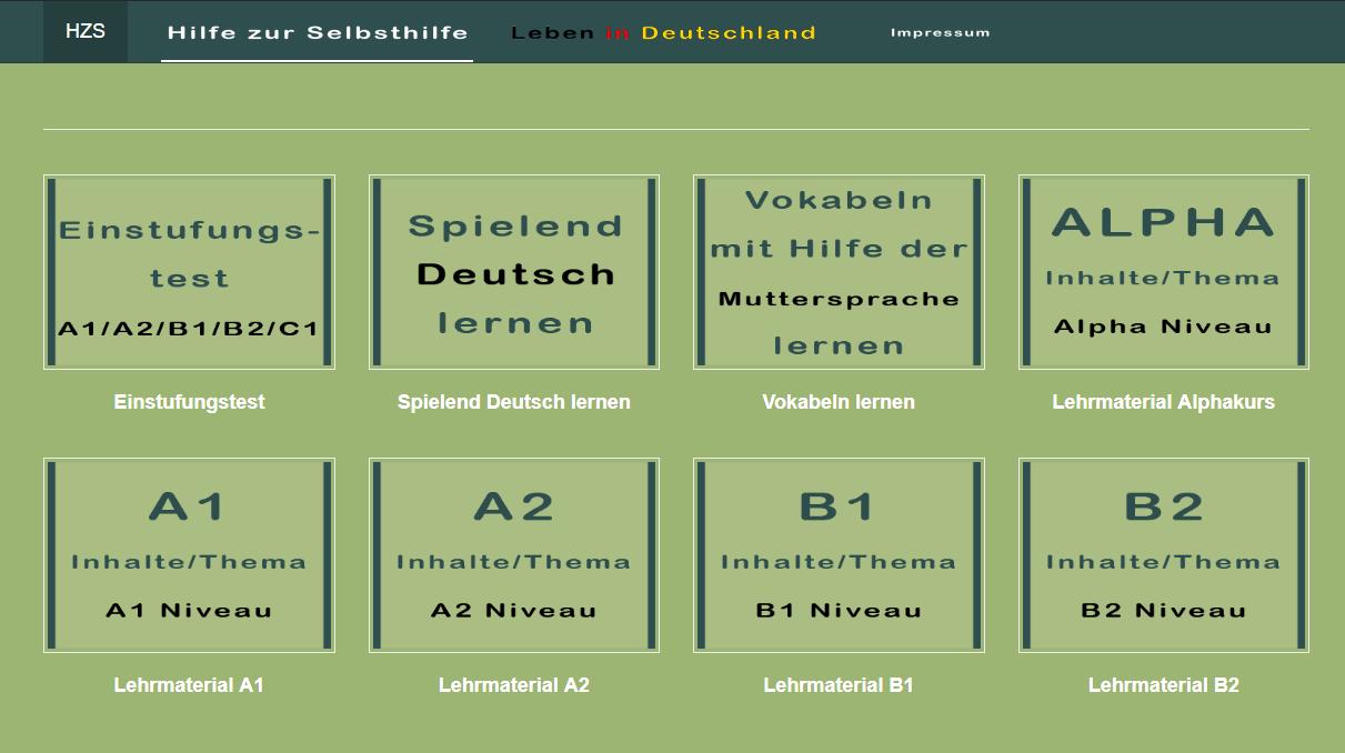Auf der Startseite von  Hilfe zur Selbsthilfe  findet man eine Übersicht der verschiedenen Angebote.