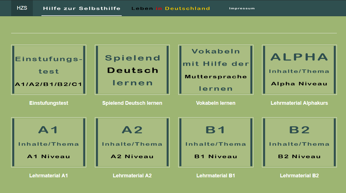 "The landing page of "" Hilfe zur Selbsthilfe "" shows an overview of the language learning offers."
