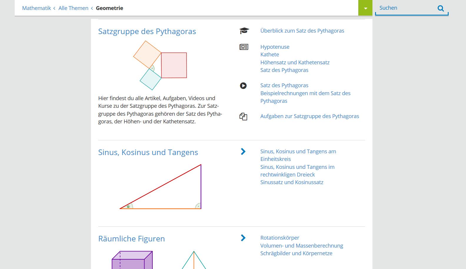 Beispiele aus dem Mathematik-Angebot der Lernplattform  Serlo.org . Auf der Startseite findet man auch Aufgaben aus der Biologie und Infos zur App Serlo ABC.