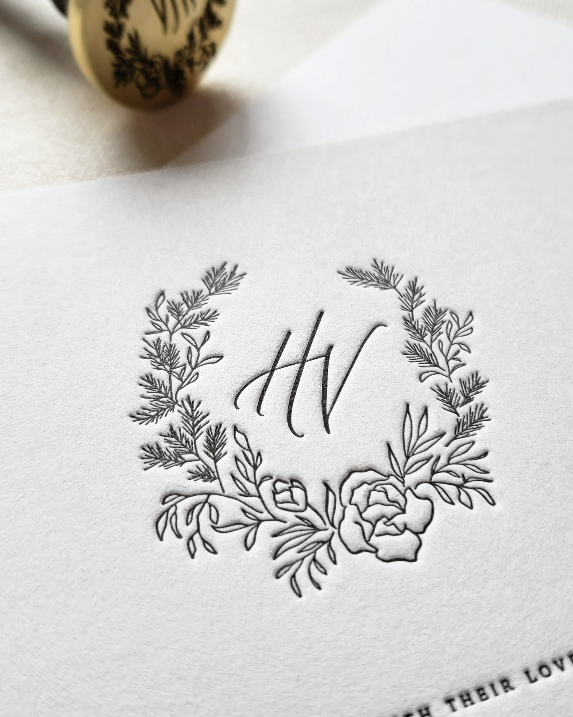 Fir Peony Rose Monogram Crest | Delicate floral circle line drawing | Seattle Calligraphy | Krisanna Elizabeth Co.jpg