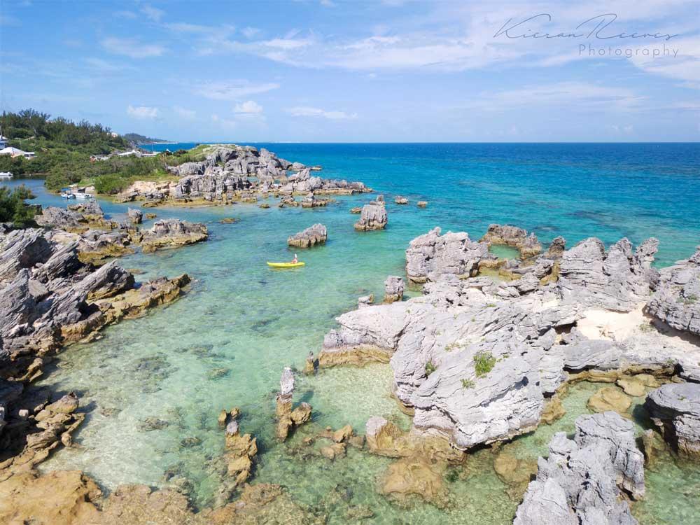 Kayaking outside of Achilles Bay
