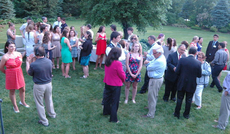 Newtown Scholarships Association board members, school district educators and administrators, and students mingled on the lawn at The Dana-Holcombe House prior to awards being presented during The Third Annual NSA Awards Reception June 11.