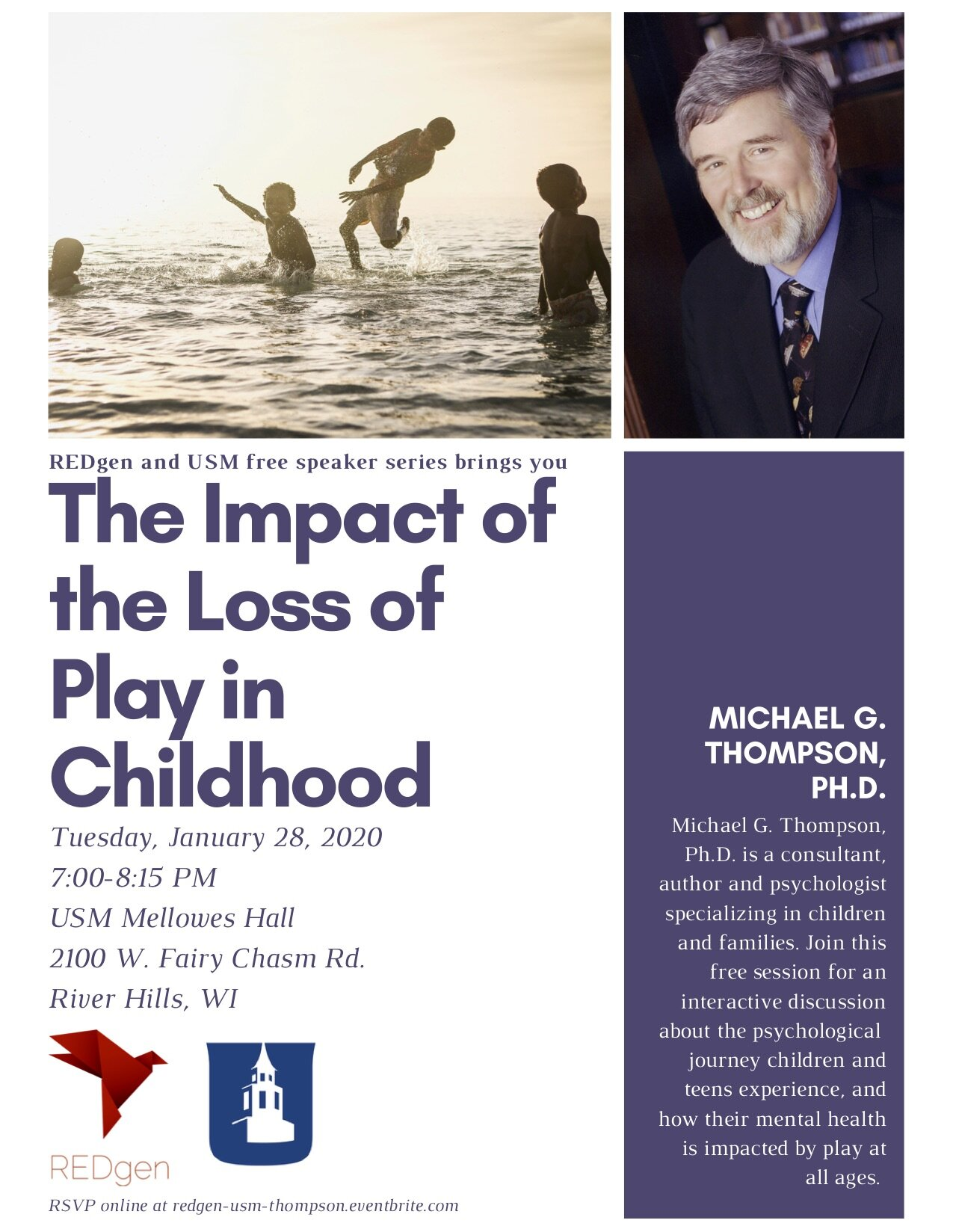 RSVP AT  https://www.eventbrite.com/e/redgen-and-usm-speaker-series-the-impact-of-the-loss-of-play-in-childhood-tickets-71813127999