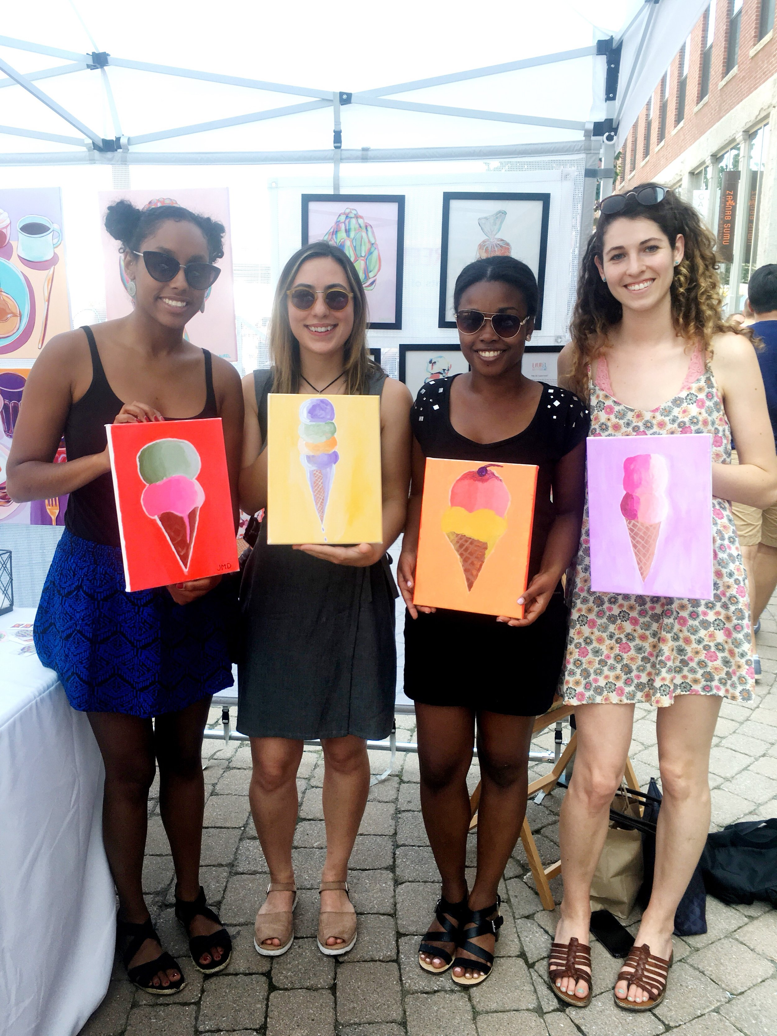 four friends with their ice cream paintings.JPG
