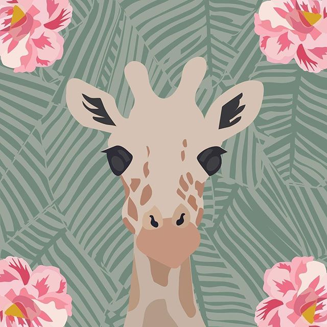 Sometimes your ready to turn a new leaf 🌸 🌿( 🔗 for print in bio) #giraffe #graphicdesign #vectorart #vectorillustration #illustrator #nogiraffeemoji #adobe #tropicalleaves #popart #florals #shadesofgreen #society6 #modernart #createcoolshit #artprints #abstractart