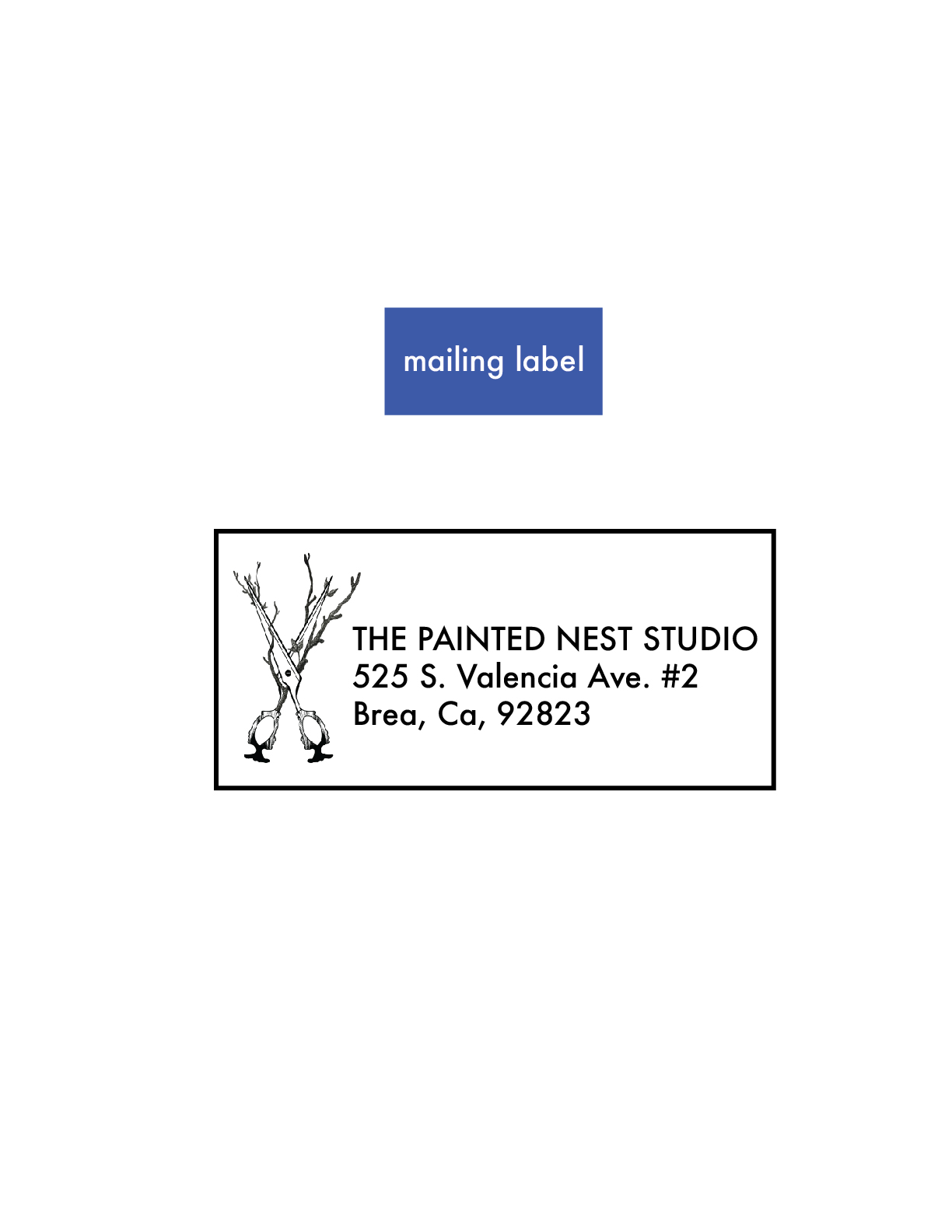 the painted nest studio mailing label