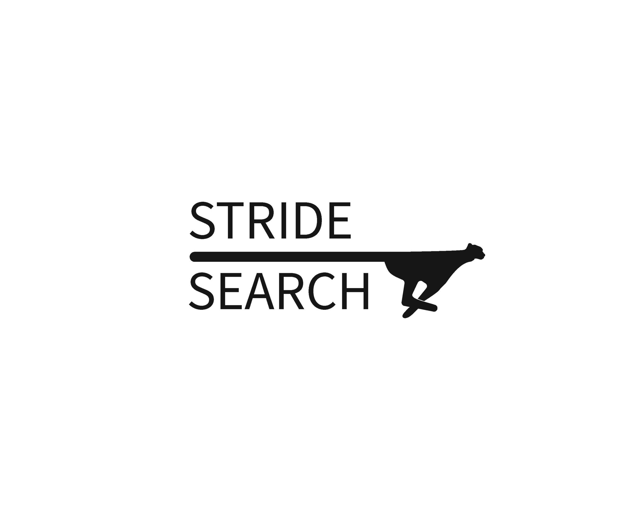 Stride Search identity logo concepts 2 text and cheetah