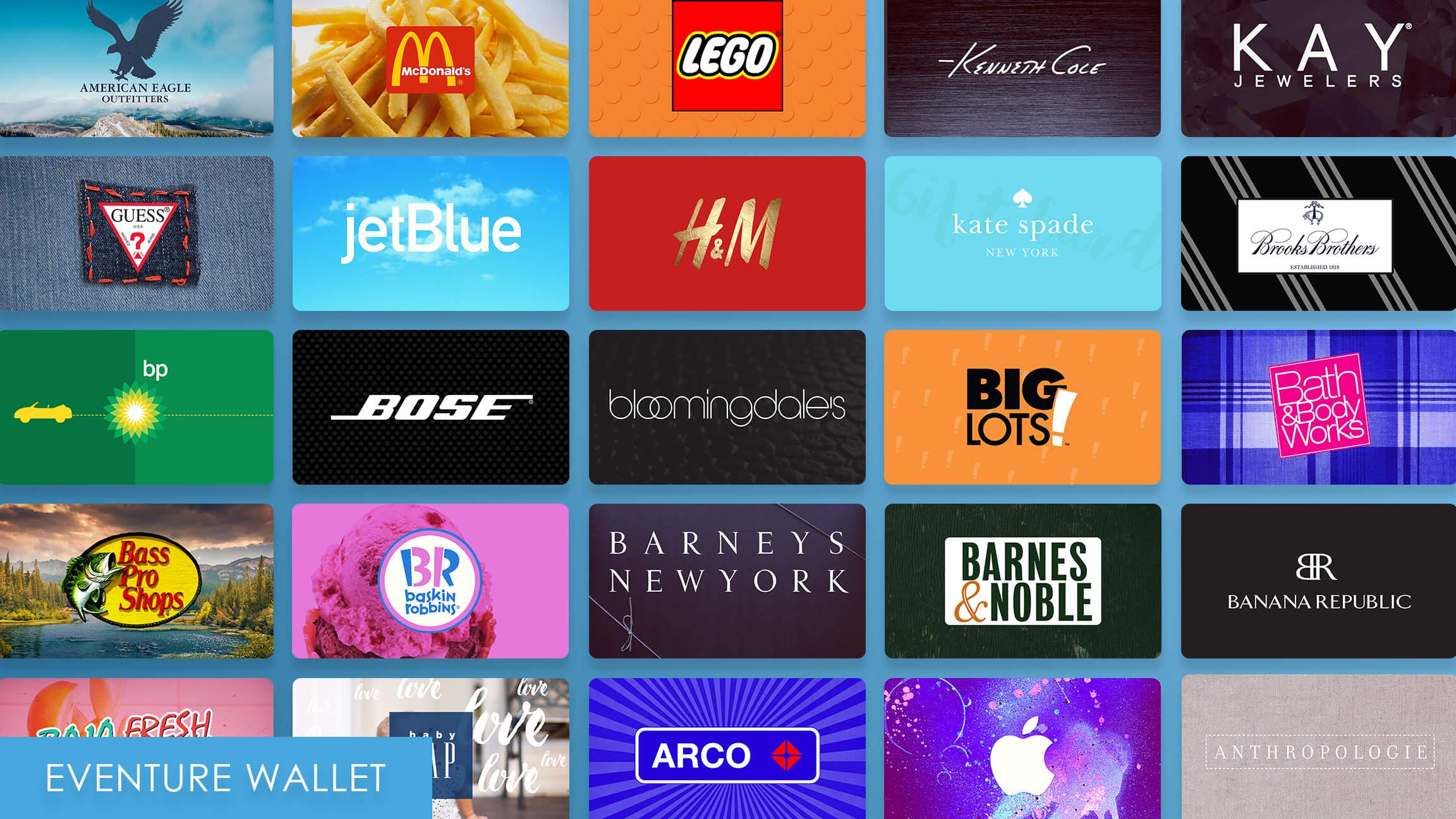 Eventure Wallet Gift Card Images