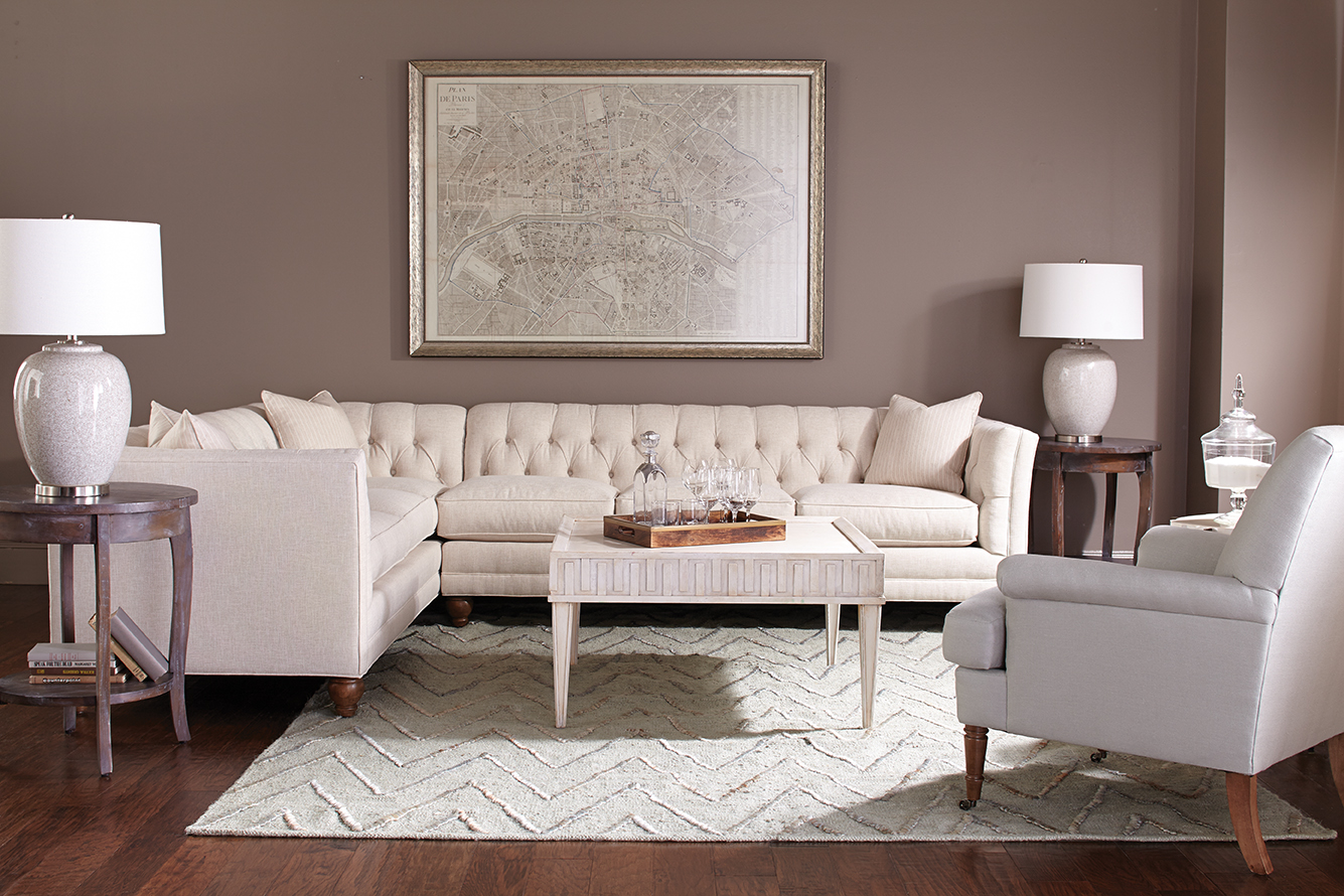 Brighten a room with a crisp, clean sectional