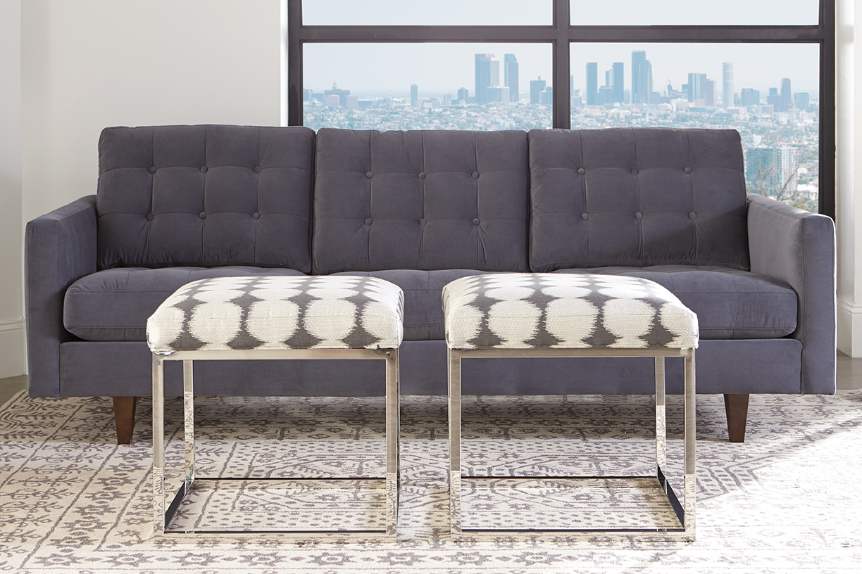 Modern Grey Sofa and Percy Ottoman make a ‪sleek‬ and stunning pair