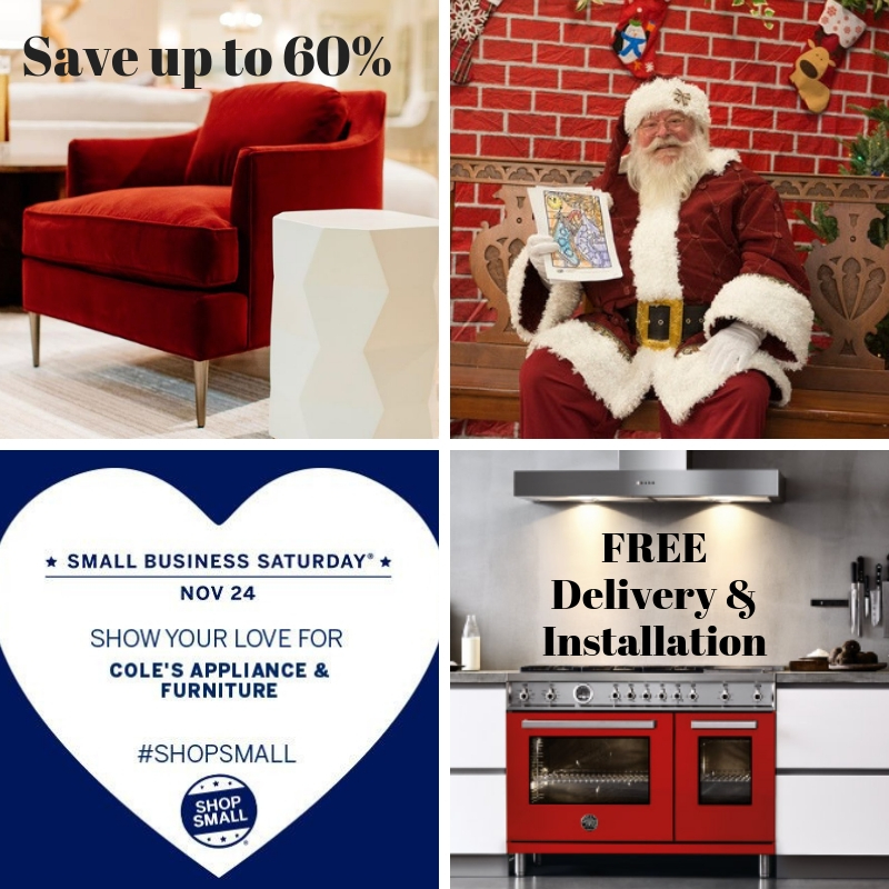 Shop Small, Small Business Saturday, Free Gas Range, Save on Upholstered Furniture