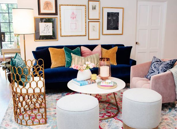 Upholstery Deep Blue Sofa