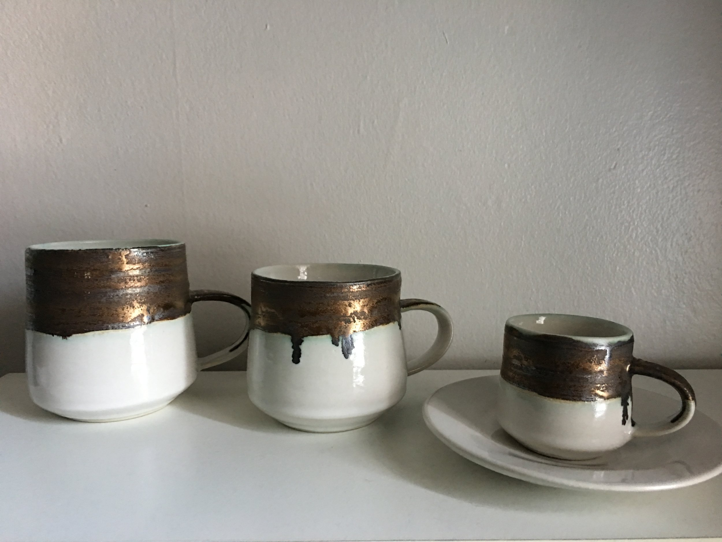 Porcelain with Bronze + White glazes