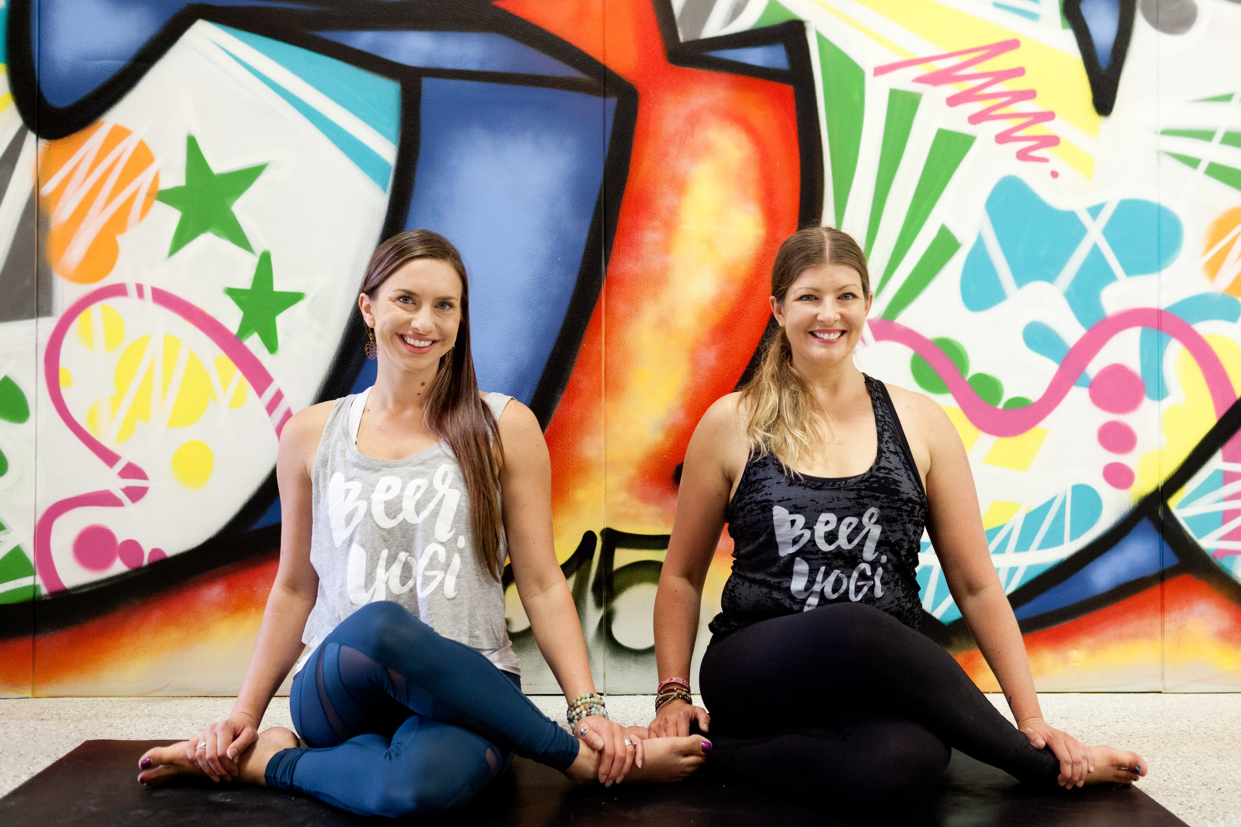 The Beer Yogis. United by Yoga and Beer. Beer Yoga gatherings, hosted by Mikki Trowbridge and Melissa Klimo-Major,across the United States.