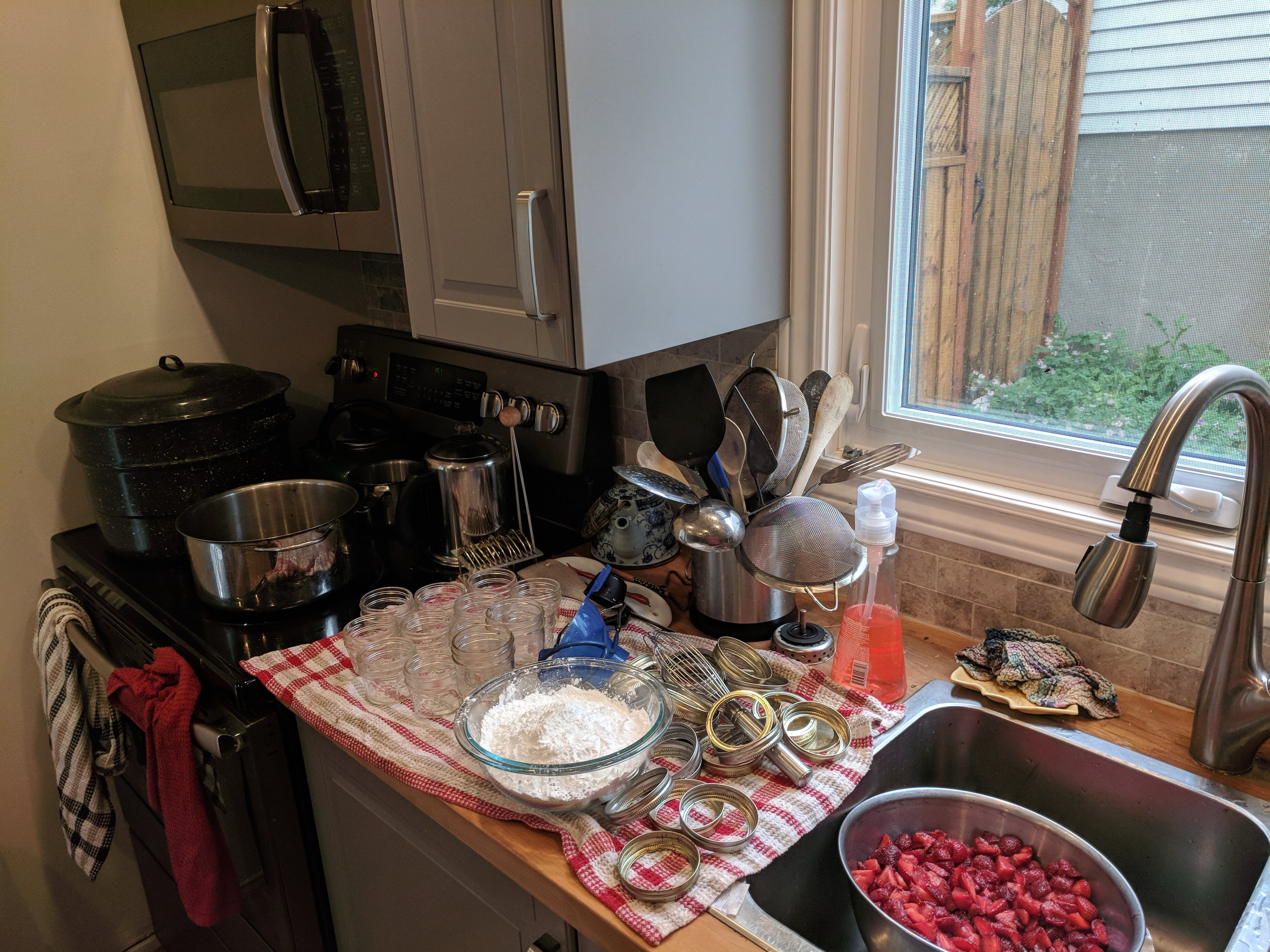 Mise en place. Hey, don't judge. Messy, yet clean.