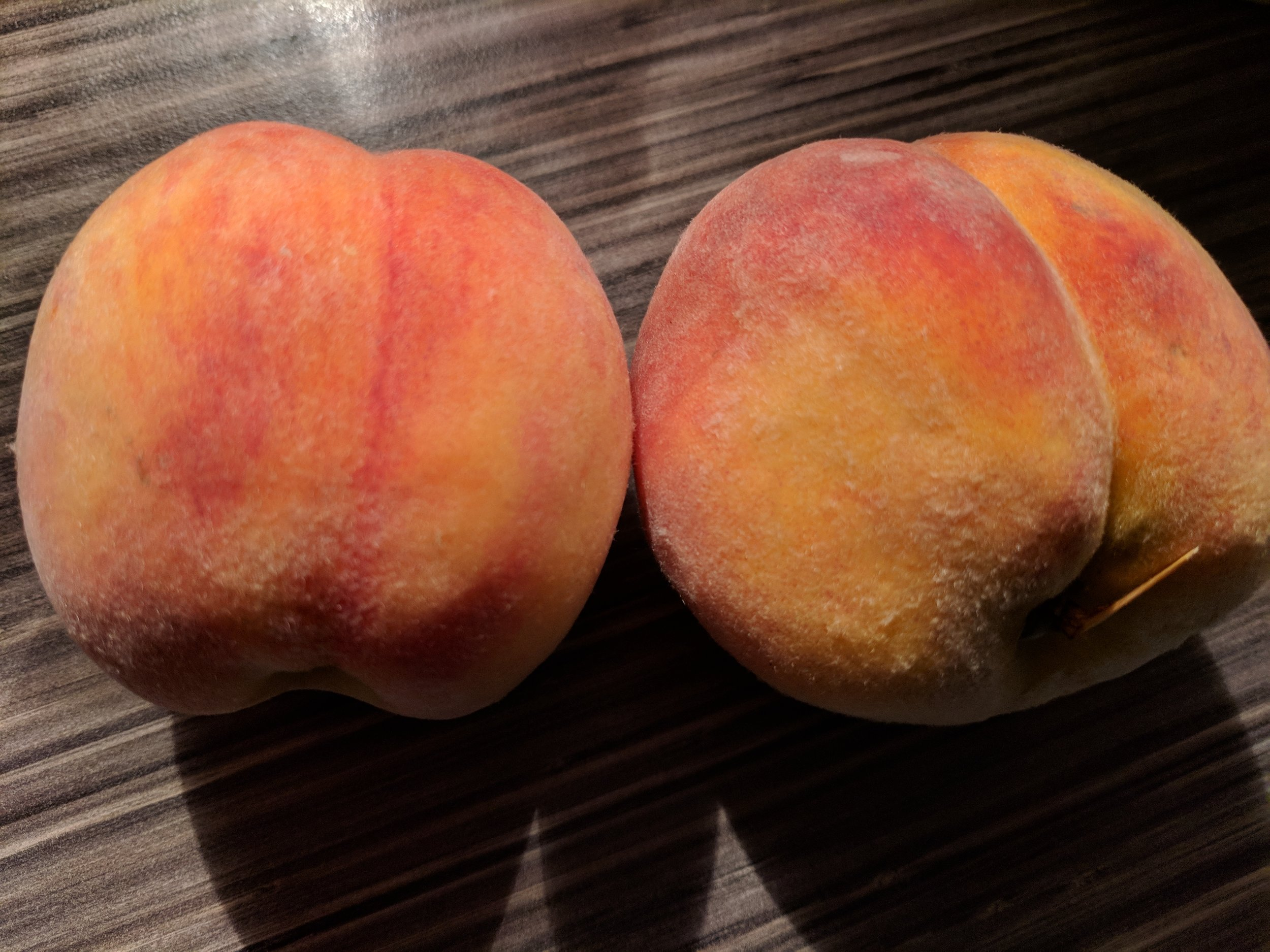 Niagara peach on the left. Ruthven peach on the right. BOTH SO DELICIOUS.