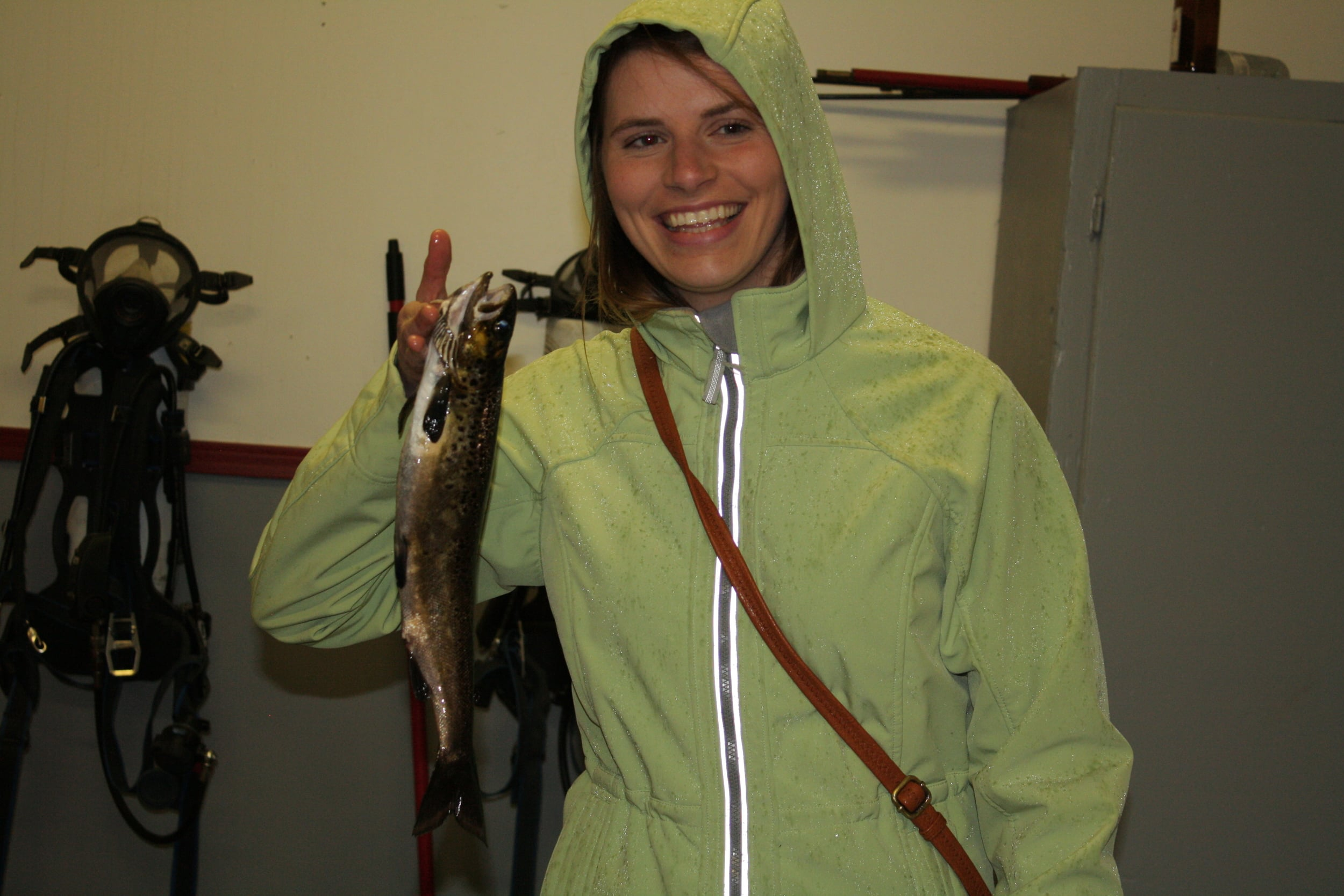 Jennifer brace holding her lovely catch!