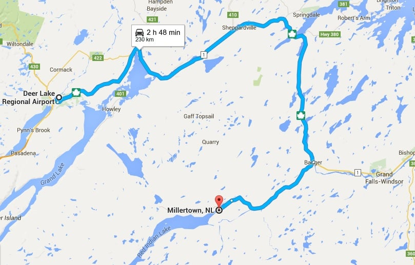 This is the route to take from the deer lake airport to Millertown. 230 KM, and about a 3 hour drive. Take the trans-Canada highway to badger and the route 370 to Millertown.