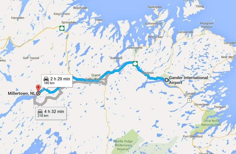 THIS IS THE ROUTE TO TAKE FROM THE Gander AIRPORT TO MILLERTOWN. 180 KM, AND ABOUT A 2.5 HOUR DRIVE. TAKE THE TRANS-CANADA HIGHWAY TO BADGER AND THE ROUTE 370 TO MILLERTOWN.