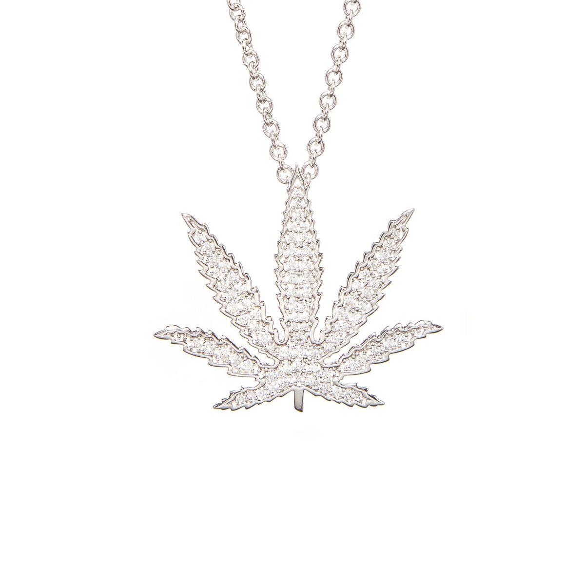 Sativa Leaf Diamond Pavé Pendant