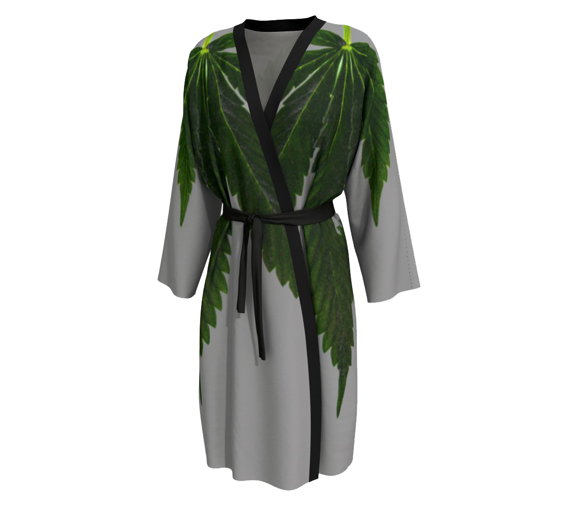 Emerald Green & Cool Grey Canna Leaf Peignoir by Stolbie Brand