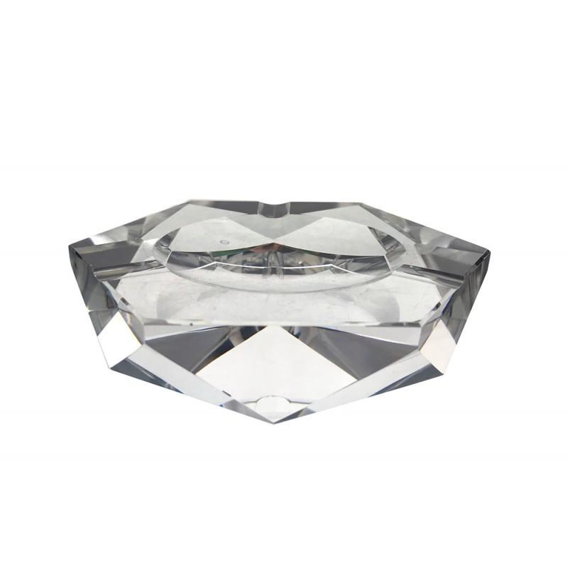 HEXAGONAL CRYSTAL-CUT GLASS ASHTRAY