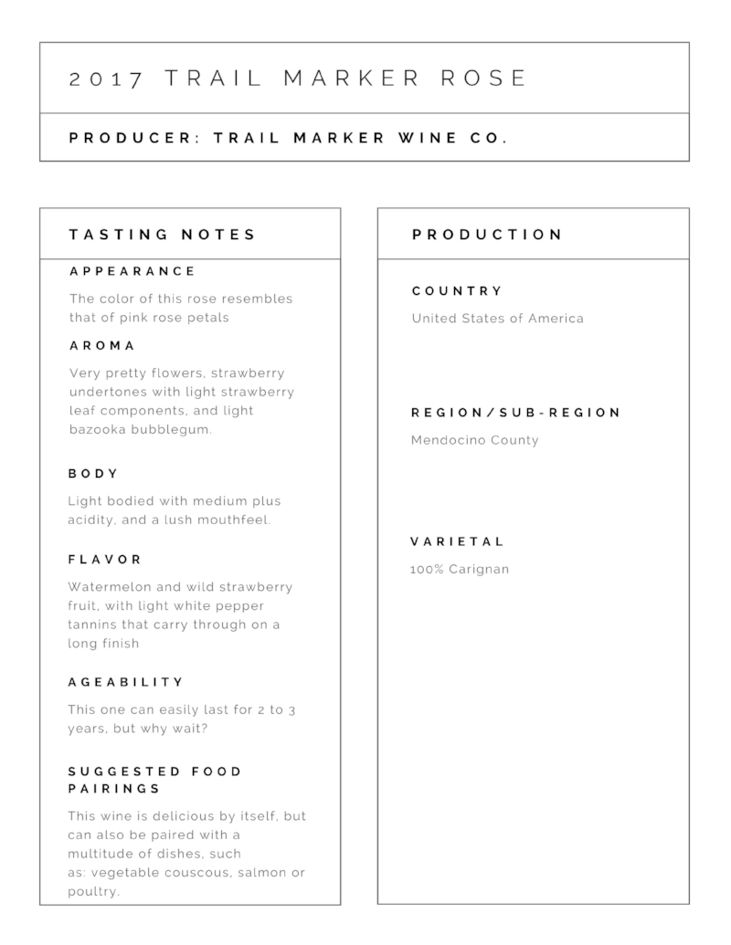Further information can be found here:  Trail Marker Wine Co.