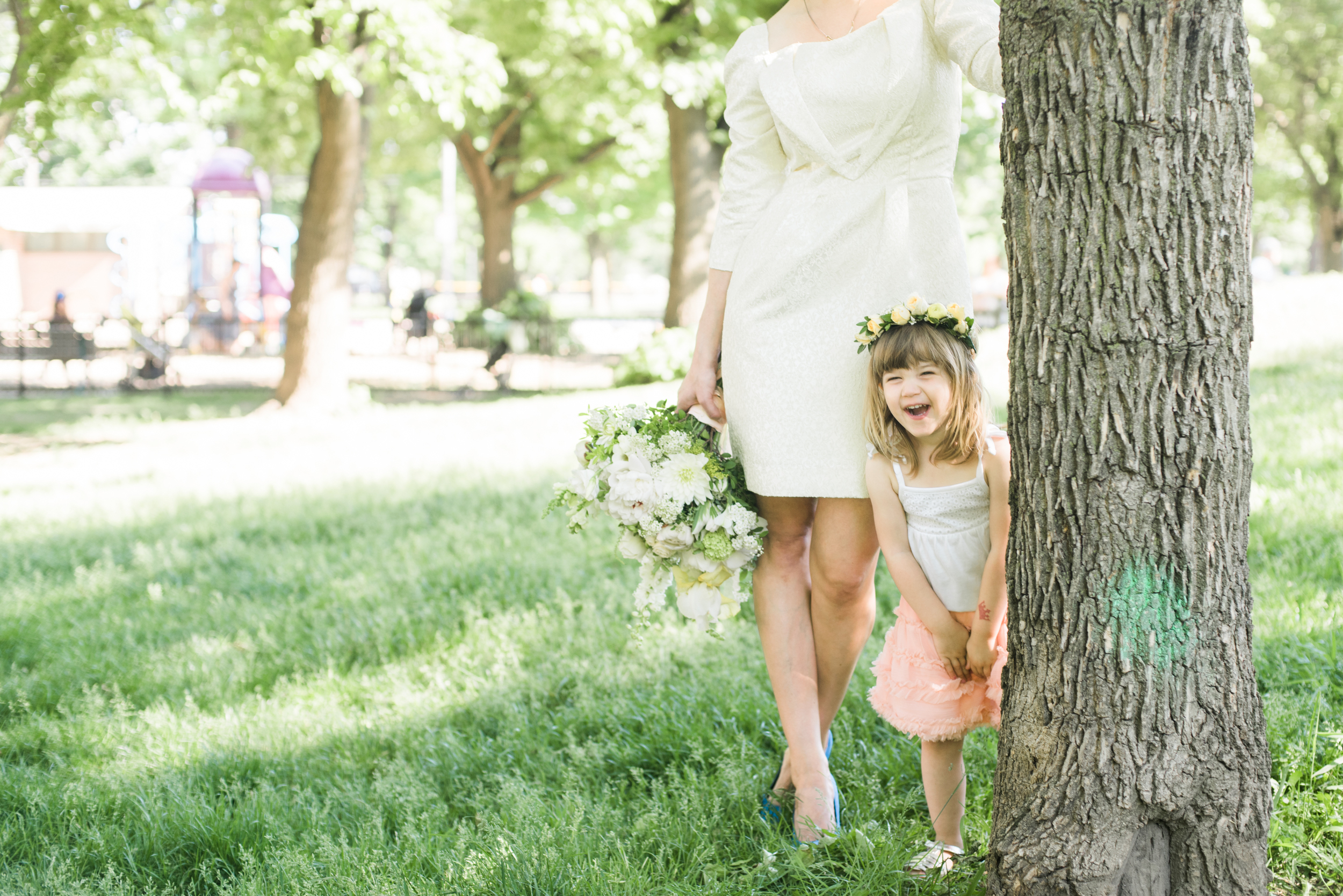 Flower girls can look just as cute in a casual summer outfit dressed up with a floral crown.