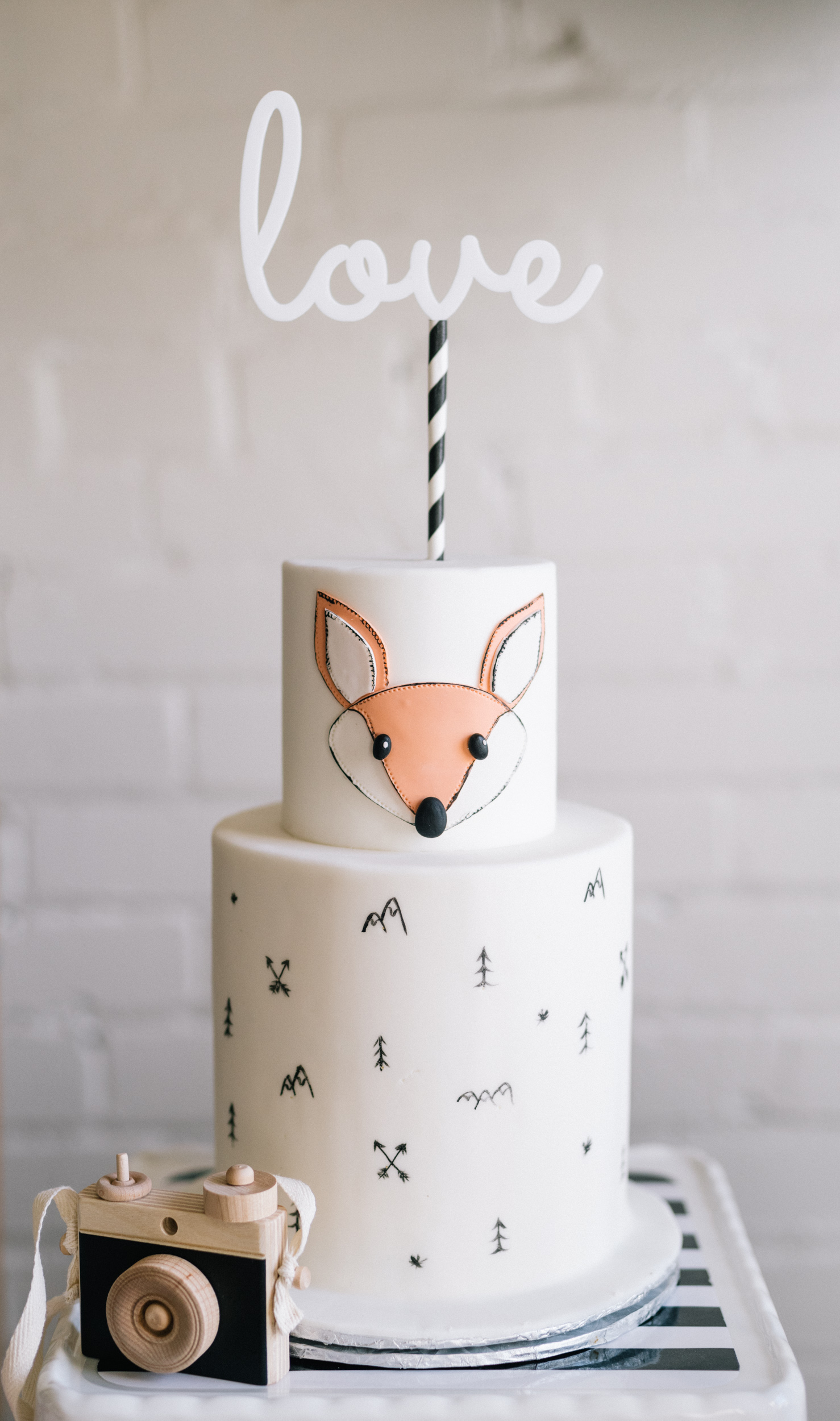 Hidden inside this wilderness-themed cake by  Cakelaine is the baby's gender. The cute handmade wooden camera is made by  Little Rose and Co .