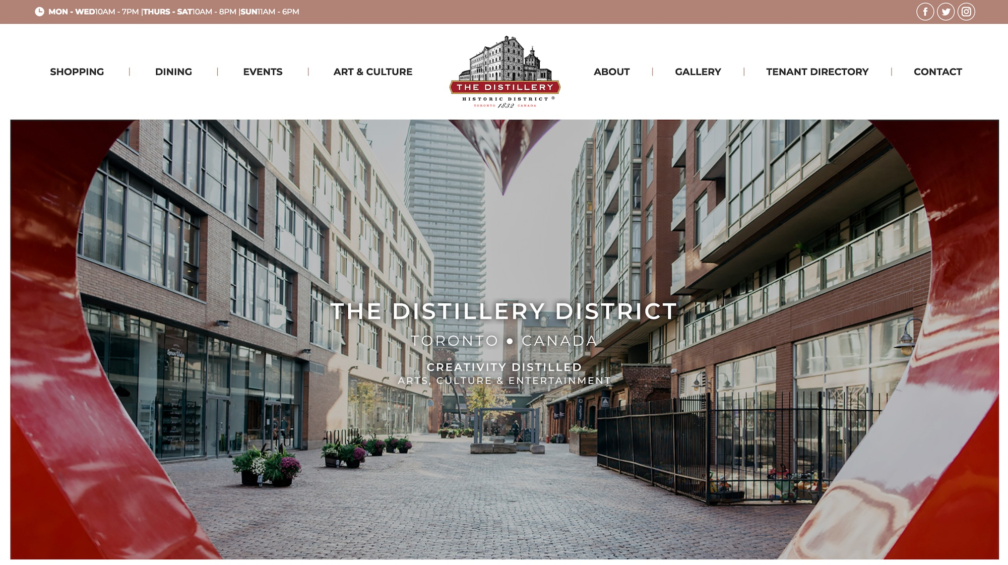 The new homepage of the  Distillery District .