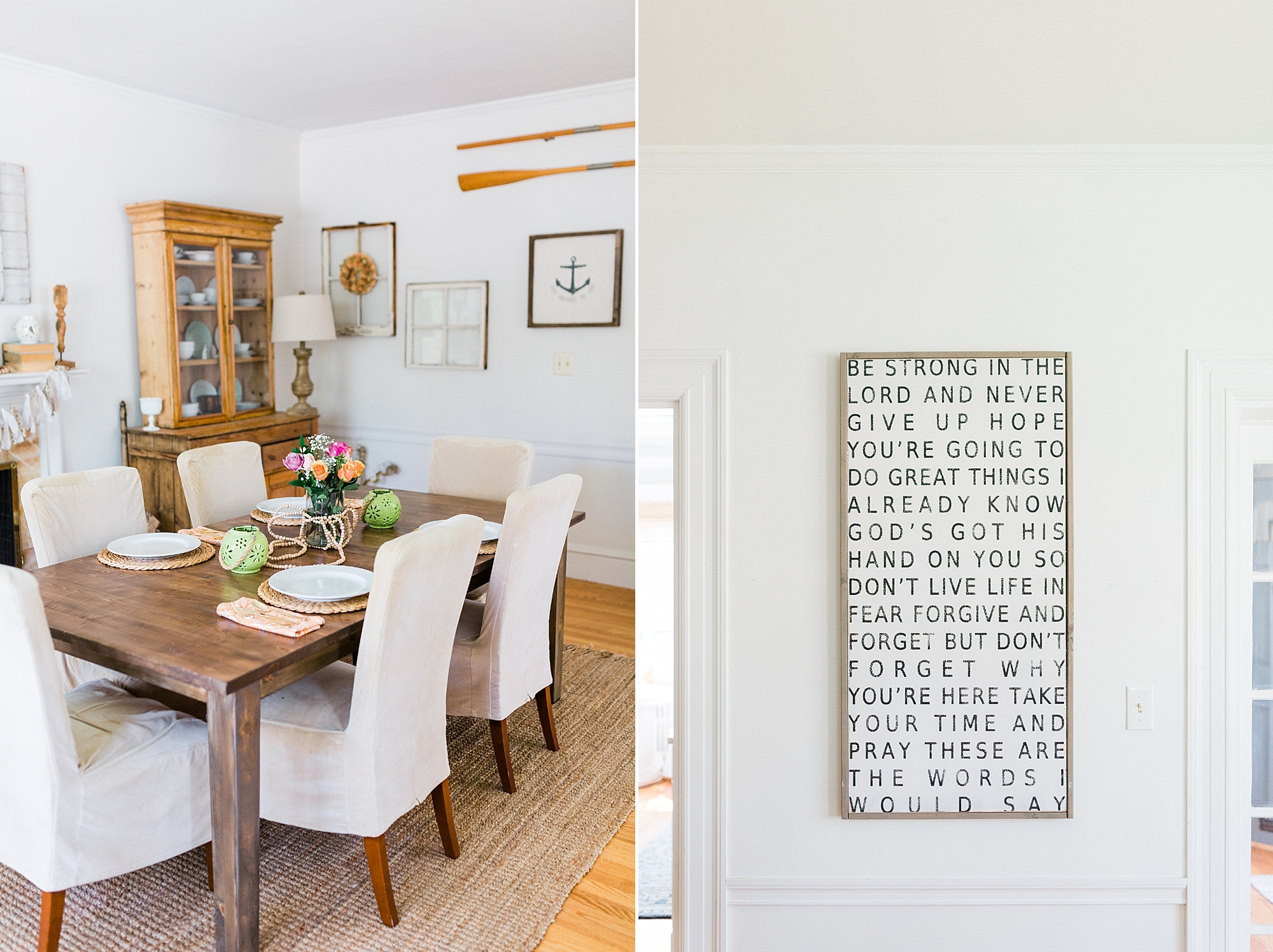 Dining Room Decor - Christian Sign - New Hampshire Home - Madison Rae Photography