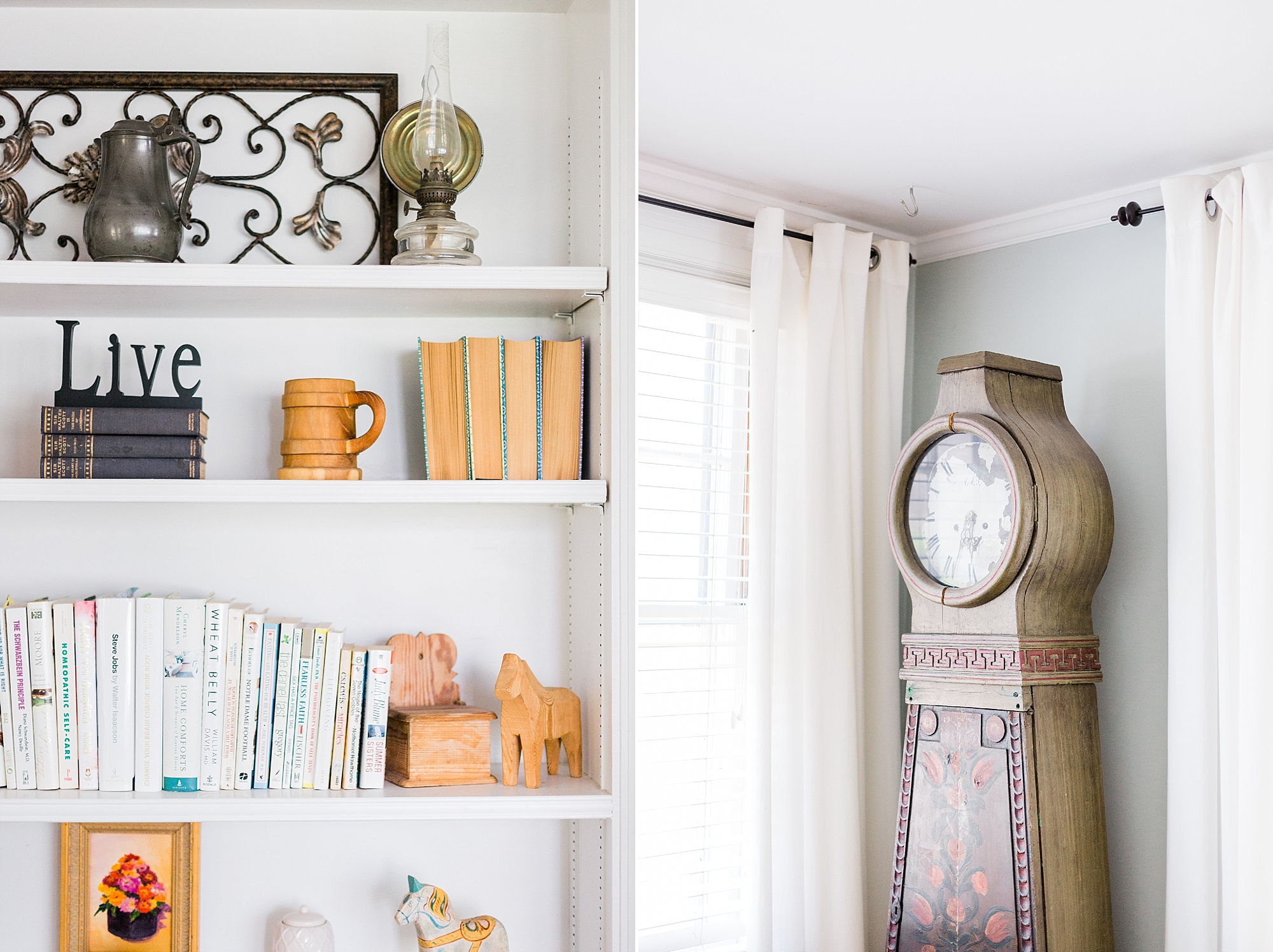 Bookshelf Decor - Antique Clock - New Hampshire Home - Madison Rae Photography