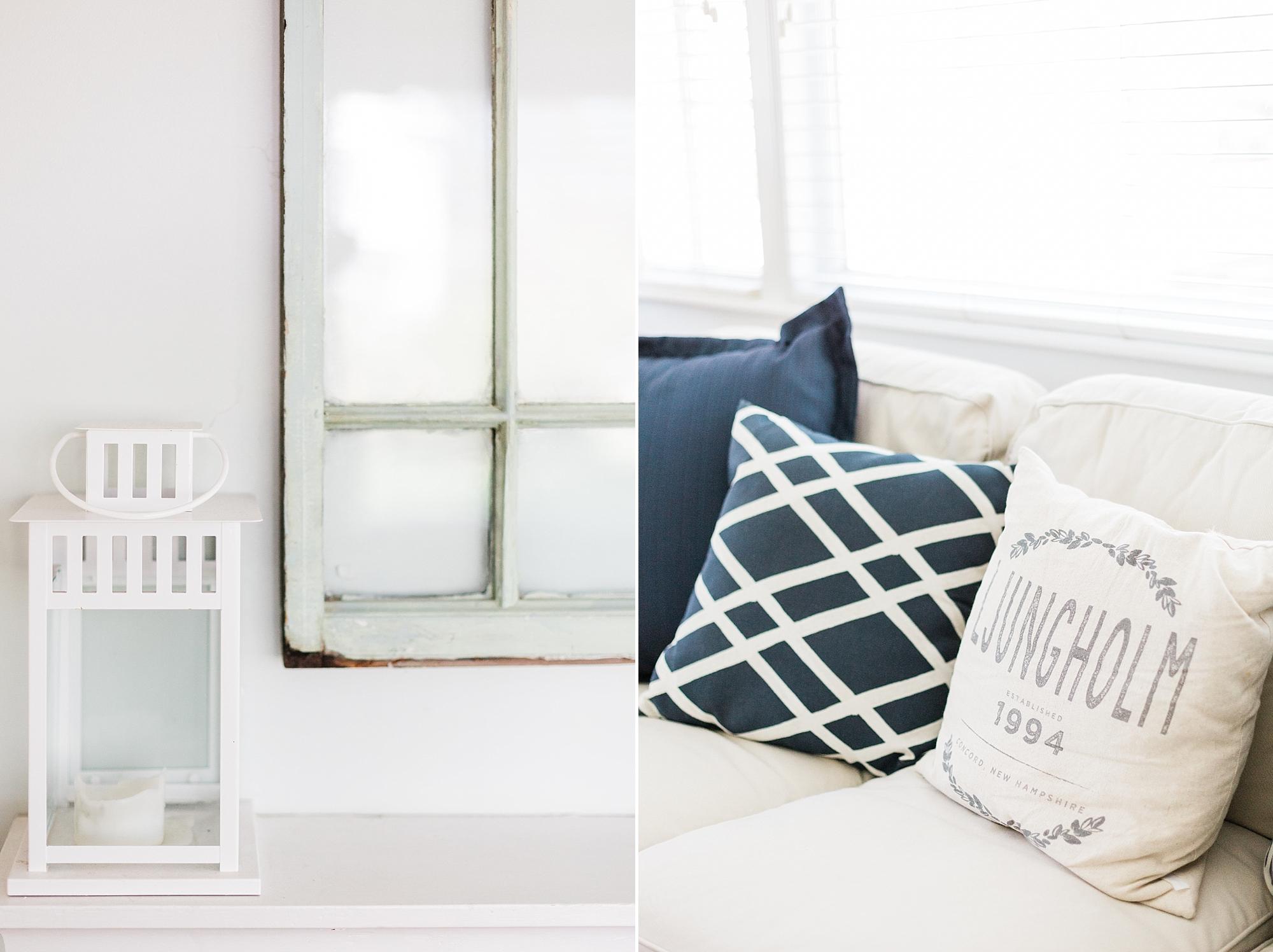 White Lantern - Navy Pillows - Living Room Decor - New Hampshire Home - Madison Rae Photography