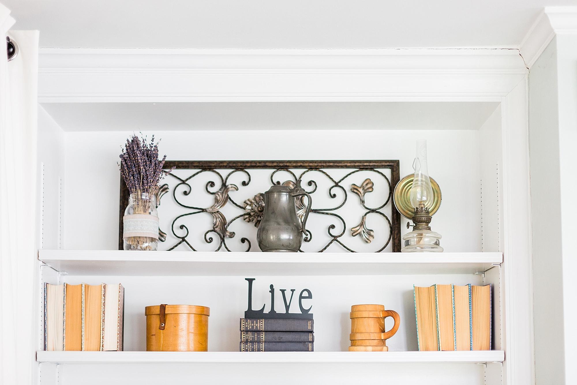 Bookshelf Decor - Lavender - Vintage - New Hampshire Home - Madison Rae Photography