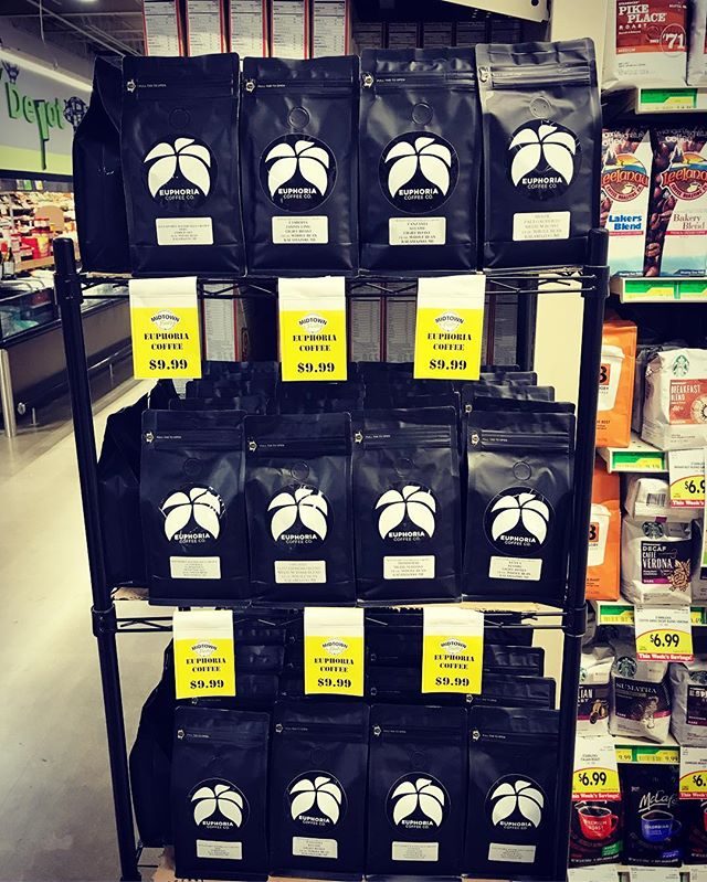 Restocked & on sale for $9.99 at @midtownfreshmarket!  We have 8 varieties to choose from at Kalamazoo's newest local grocer.  Stop in today and pick up a fresh bag of Kalamazoo's craft coffee, Euphoria Coffee Co. #kalamazoo #euphoriacoffee #midtownfreshkzoo #craftcoffee #specialtycoffee #michigan #localcoffee #coffeeroaster #morningwakeup