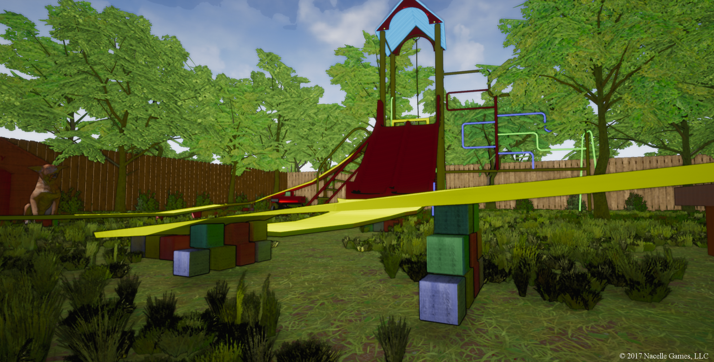 Attention to detail is important, which is why the track is propped up by wooden blocks instead of magically floating above the grass.