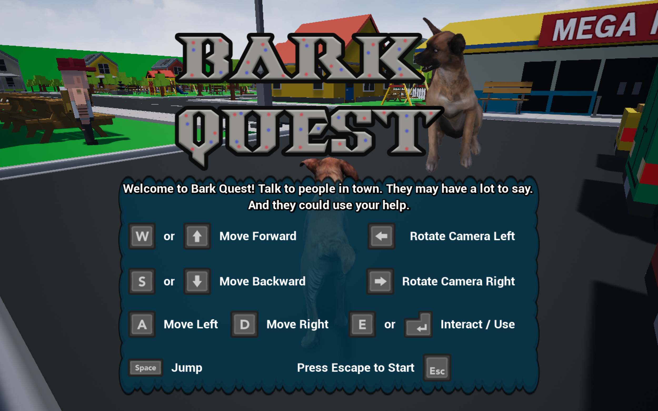 Bark Quest title screen and instructions.png
