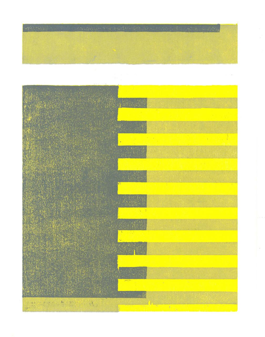 "GreY, 2015, relief woodcut, 15"" x 11"""