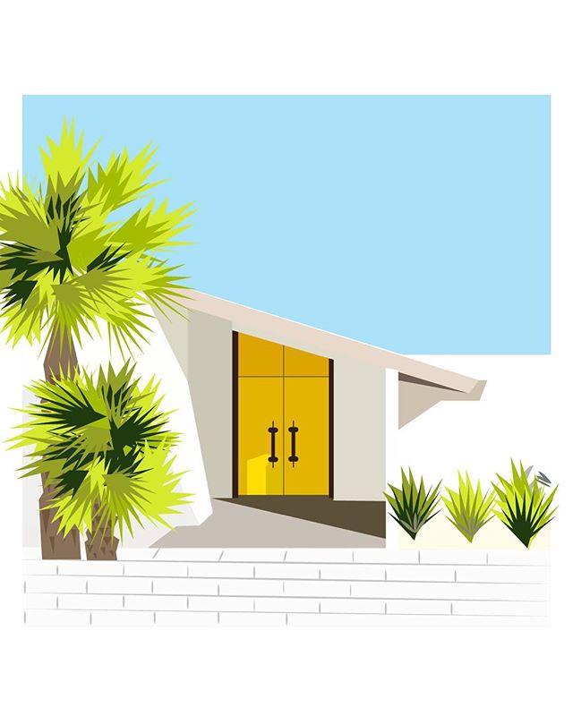 •Palm Spring dreamin' on a fall day• . . . . . . . #palmsprings #yellow #yellowdoor #midcenturymodern #midcenturyhome #sunny #misssummer #happyskies #illustration #design #everydaysketch