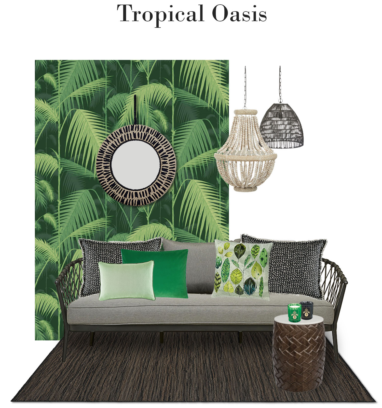 With Summer on its way, get inspired by this striking Cole and Son palm leaves wallpaper. Layer it with a textured rug, embroidered linen mirror, fringed cushions and staggered pendant lights. Shades of coriander, forest and mint sit well in this outdoor oasis mimicking the natural colours of the outdoors.